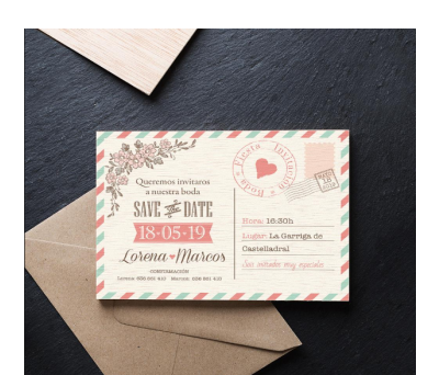 Invitación boda madera Postal Save the date AWL-6816336