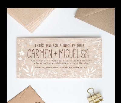 Invitación boda madera Primavera AWL-1464782