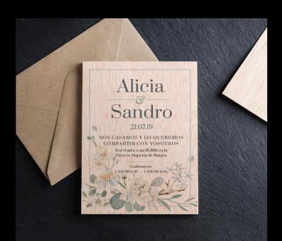 Invitación boda madera Romantica AWL-9125778