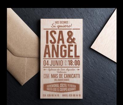 Invitación boda madera Sí quiero AWL-4445590