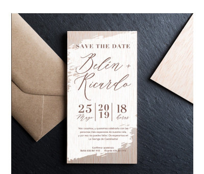 Invitación boda madera Save the date AWL-3216452