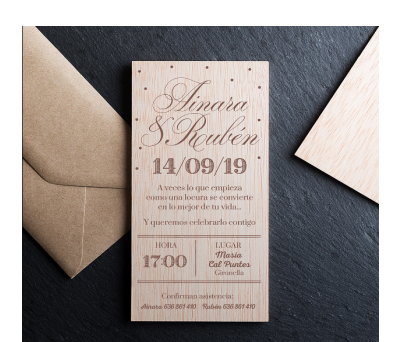 Invitación boda madera Sweet AWL-2865585