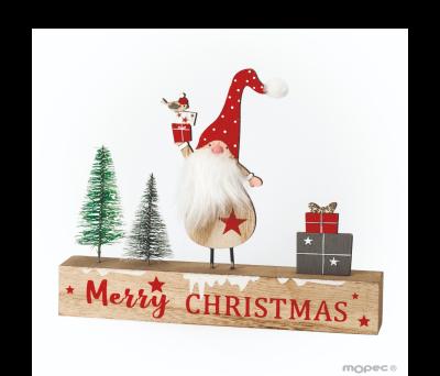 Letrero de madera árboles Merry Christmas 17x20cm. ANW960