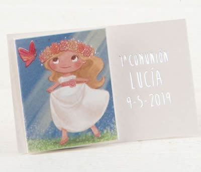 Tarj. librito Comunión niña rubia en pradera. precio 100u. AX0978
