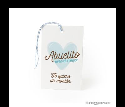 Tarjetón Abuelito eres el mejor+cordón 6x10cm.min.25 - AXA900.1