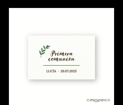 Tarjeta Primera comunión hoja de olivo - AX13.1