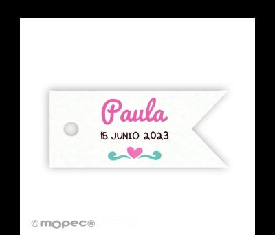 Tarjeta banderola con corazón 3.7x1.7cm (preciox77u) min.77 AX0825