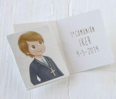 Tarjeta librito Comunión niño americana azul precio x100uds. - AX067.3