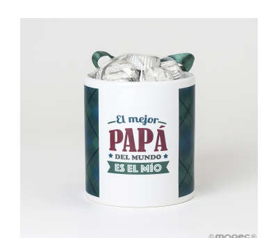 Taza cerámica El mejor Papá cuadros 6bombones caja regalo - AGB430.1