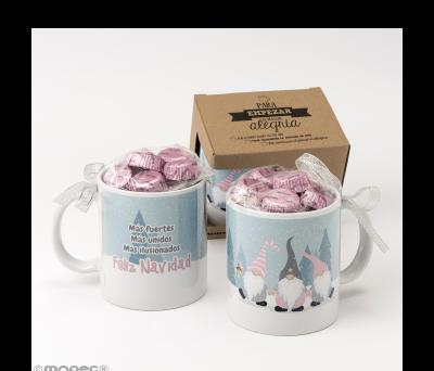 Taza cerámica Gnomos rosas (ES) 6 bombones en caja regalo - ANGB89.1