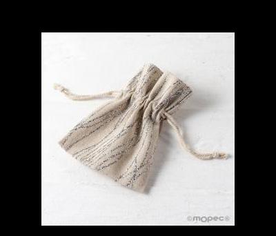 Bolsa algodón de líneas plateadas 10x13cm. - AA24800.12
