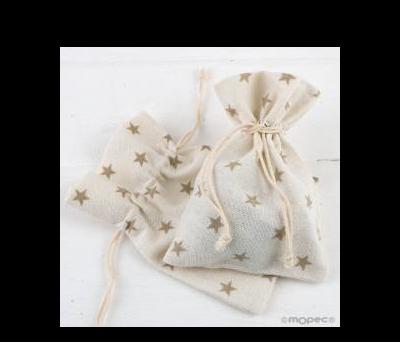 Bolsa algodón estrellas beige 10x14cm.  - AA934.13