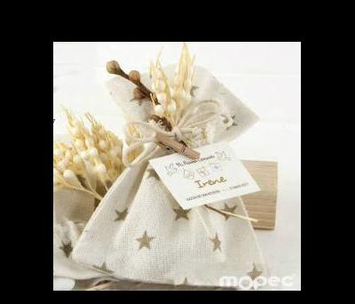 Bolsa algodón estrellas beige con espigas 5 peladillas choc. - AAP977.13