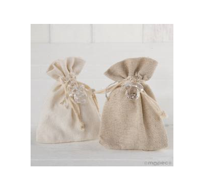 Bolsa algodón marfil/beige chupete 5peladillas choc.  AAP2490