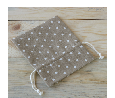 Bolsa algodón marrón topos marfil 14cm. AA221