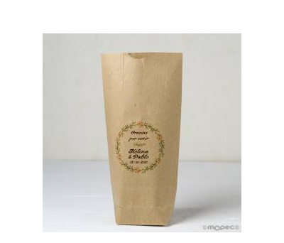 Bolsa Kraft Gracias por...Corona romántica 12x22.5cm. - AE630.1