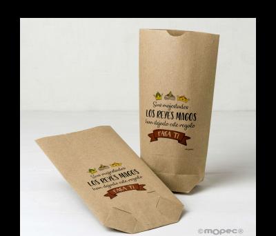 Bolsa Kraft S.S.M.M. lo Reyes Magos...12x22.5cm. min.25 - ANE238.1
