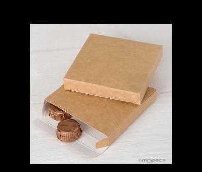 Caja Kraft abertura lateral 9x9x1,5 cm.  - AE2530.61