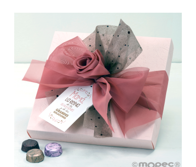 Caja rosa 30 bombones lazo organdí tarjetón* - AEB626.1