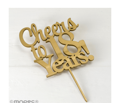 Cake topper Cheers to 18 years en color dorado 20cm. AW118