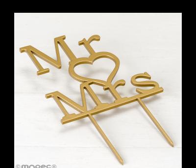 Cake topper de madera para boda. Mr & Mrs 13x21cm. AW183
