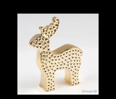 Ciervo dorado de cerámica 15cm. ANG143
