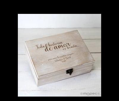 Cofre madera personalizado 23x17cm Toda historia de amor... - AW440.1