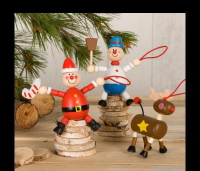 Colgante elástico madera reno. Santa. m.nieve. 3stdo.min.6 ANW301