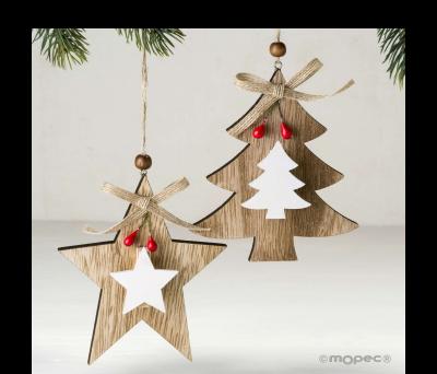 Colgante madera con pinza estrella/árbol 12cm. stdo. min.4 ANW224