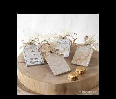 Colgante madera navideño stdo. con 2torinos ANWB602