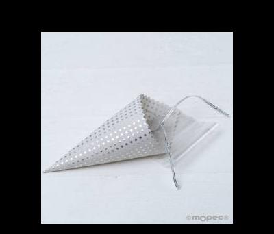 Cono plateado topos con bolsa y cinta 19x5x5cm, - AAA156.12