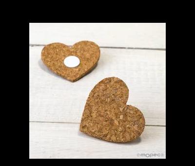 Corazón corcho con adhesivo 6x5.5x0.3cm.. AW421