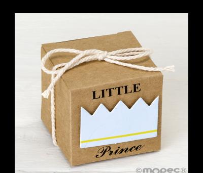Estuche cúbico kraft 5cm. deco Little Prince azul. min.25 - AE204.03