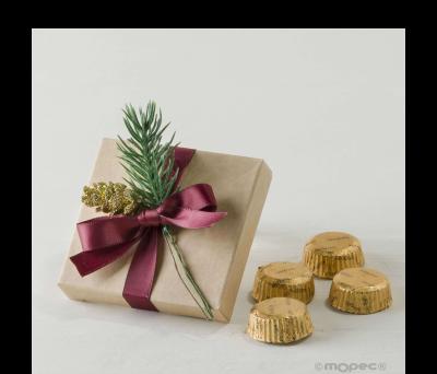 Estuche kraft con 4 torinos adornado piña y abeto navideño* ANEB798