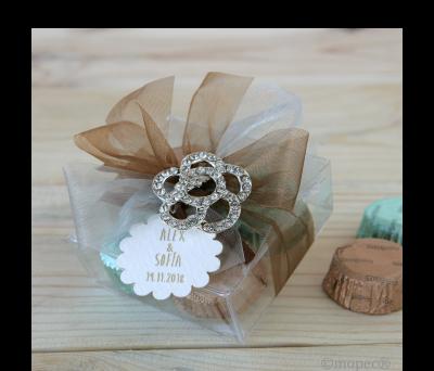 Estuche transp. 4 bombones broche metálico flor AAB123