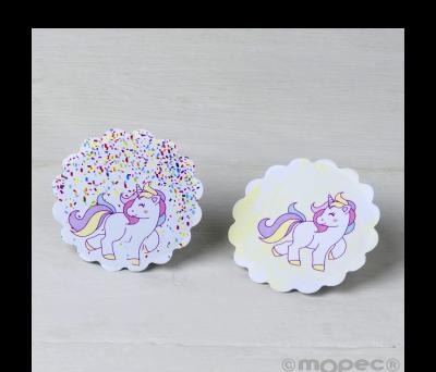 Etiq. adhesivas unicornios. 2surtidos 1hj=24etiq. min.5 AX744