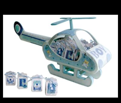 EXPOSITOR HELICOPTERO BABY AZUL + 16 CAJITAS BABY AZUL para regalar A3024