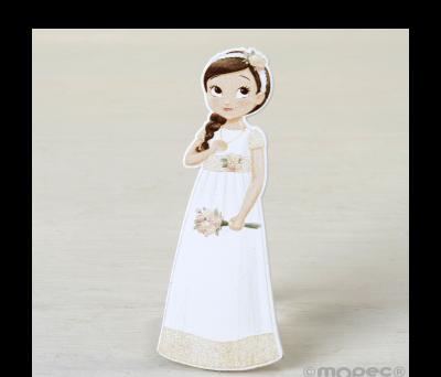 Figura 2D adhesiva niña Comunión romántica. 11cm. min.6 AW9690
