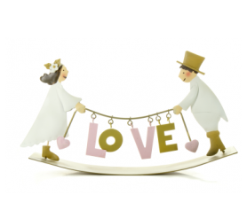 Figura de novios balanceándose Love: Medidas: 27cmx17cm. Material: Metal - 21ABIS1232