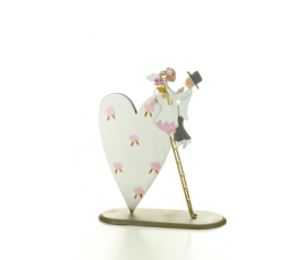 Figura de novios con escalera en corazón balancín - 21ABIS4321