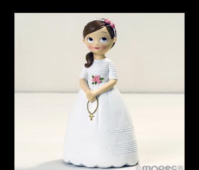 Figura niña Comunión con rosario 16.5cm. AY858