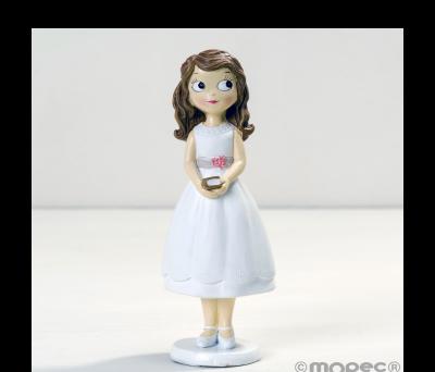 Figura niña Comunión con vestido corto 16.5cm. AY917