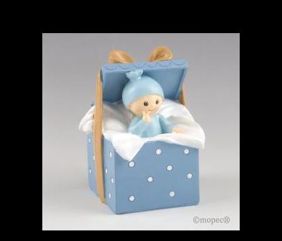 Figura para pastel+hucha bebé Caja Regalo azul 9 x14,5x9cm. - AY343.3