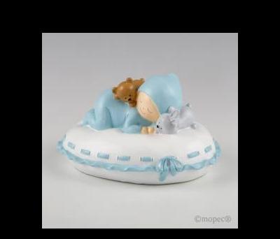 Figura para pastel + hucha bebé almohada azul 16x10x14cm - AY177.3