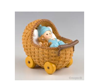 Figura para pastel + hucha Cochecito azul 15,5x13x10cm - AY781.3