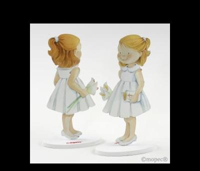 Figura pastel metal niña vestido blanco 16cm - AM313.2
