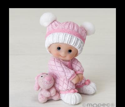 Figura pastel niña bebé sentada con peluche. 10cm. - AY285.2