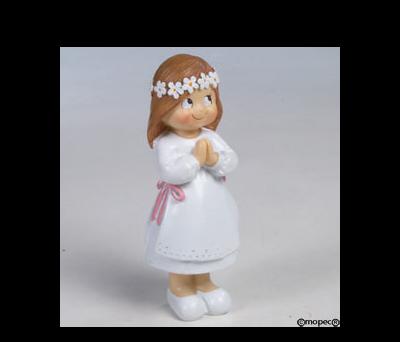 Figura pastel niña Comunión ojitos 12,5cm.  - AY63.2
