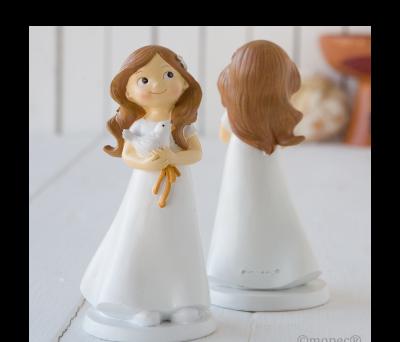 Figura pastel niña Comunión y paloma,16cms. - AY670.2