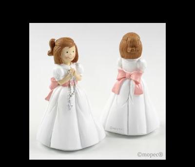 Figura pastel niña Comunión rosario 16cm AY215